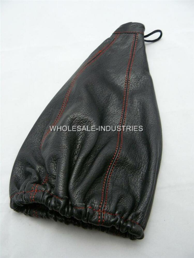 Apc Gear Shift Shifter Boot Cover Black Pvc Leather Red