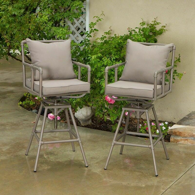 Outdoor Patio Furniture Set Of 2 Adjustable Height Swivel