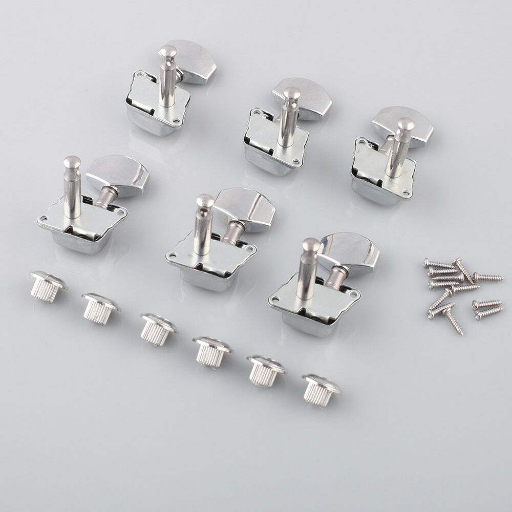 6 chrome guitar tuning keys pegs guitar tuners machine heads acoustic electric ebay. Black Bedroom Furniture Sets. Home Design Ideas