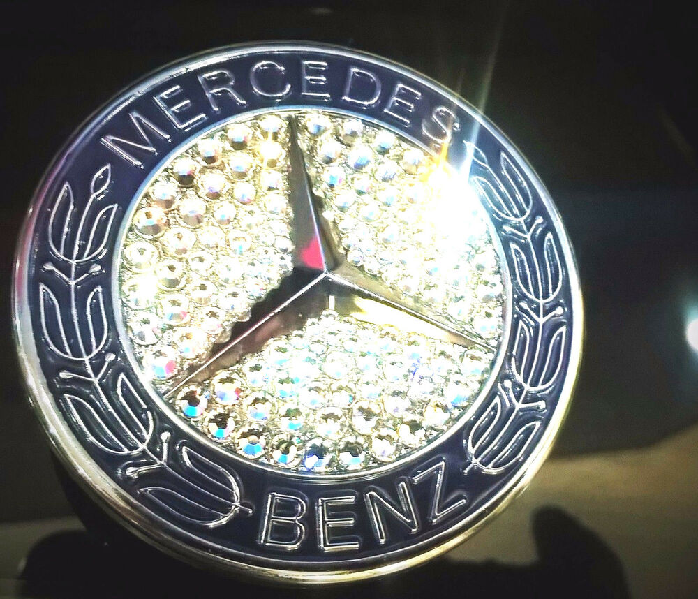 Mercedes benz front hood badge bling logo emblem with for Mercedes benz front emblem