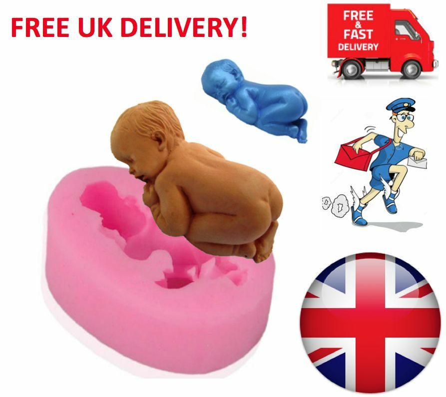 Cake Toppers For Baby Shower Uk : Silicone Mould 3D Sleeping Baby Shower Cake Topper ...