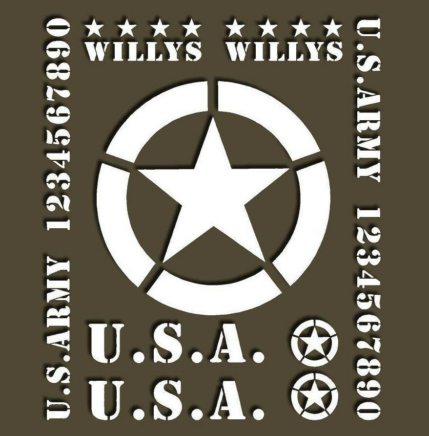 Details about jeep willy ww2 decal car kit military restoration usa army star jk tj stickers