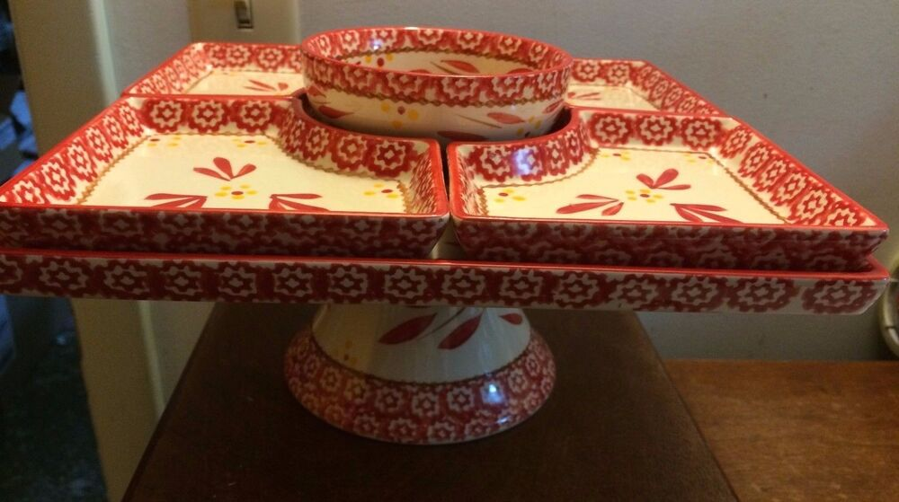Temp Tations By Tara Old World Red 6 Pc Cake Pedestal