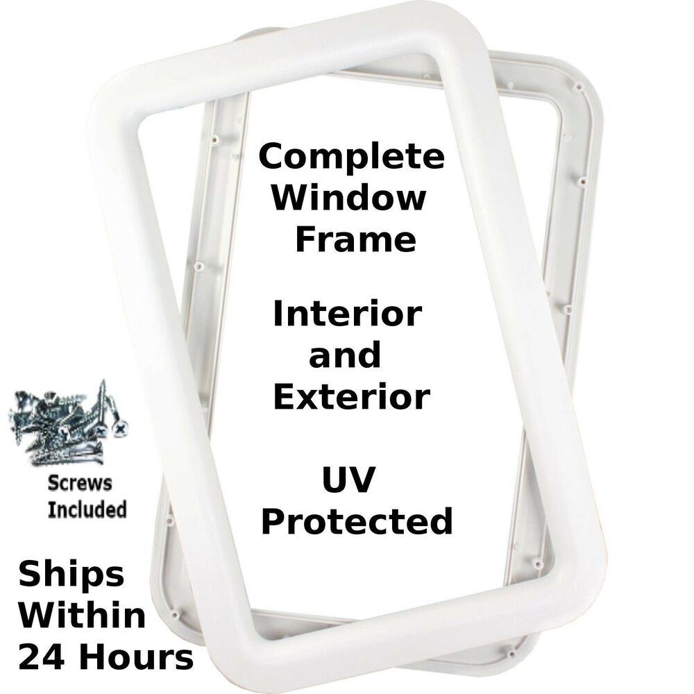 White Rv Travel Trailer Entry Entrance Door Window Frame