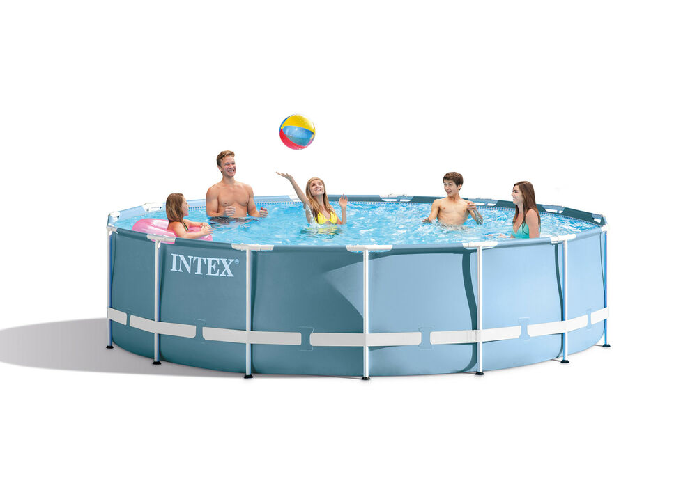 Intex 15 39 x 33 metal frame swimming pool set with 530 gph for Pied piscine intex