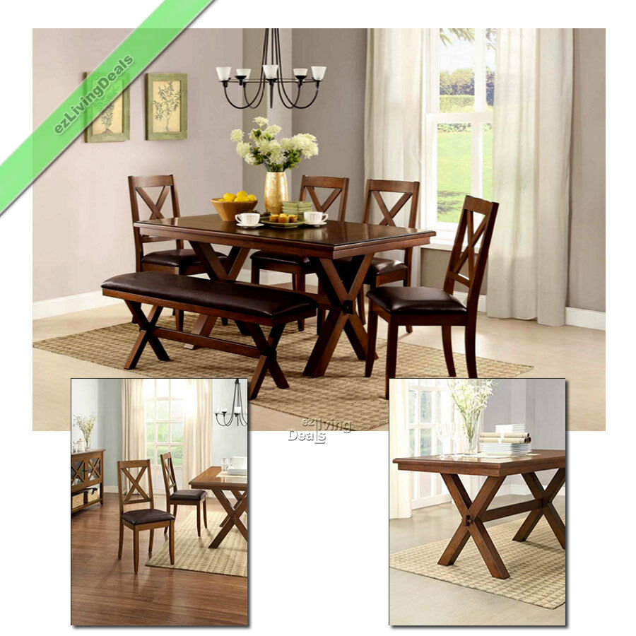 Dinette Bench Seating: 6 Piece Dining Set Maddox Table Chairs With Bench Wood
