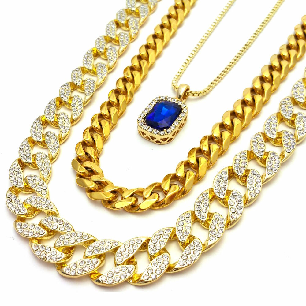 mens iced out 3 necklace set combo gold finish miami cuban