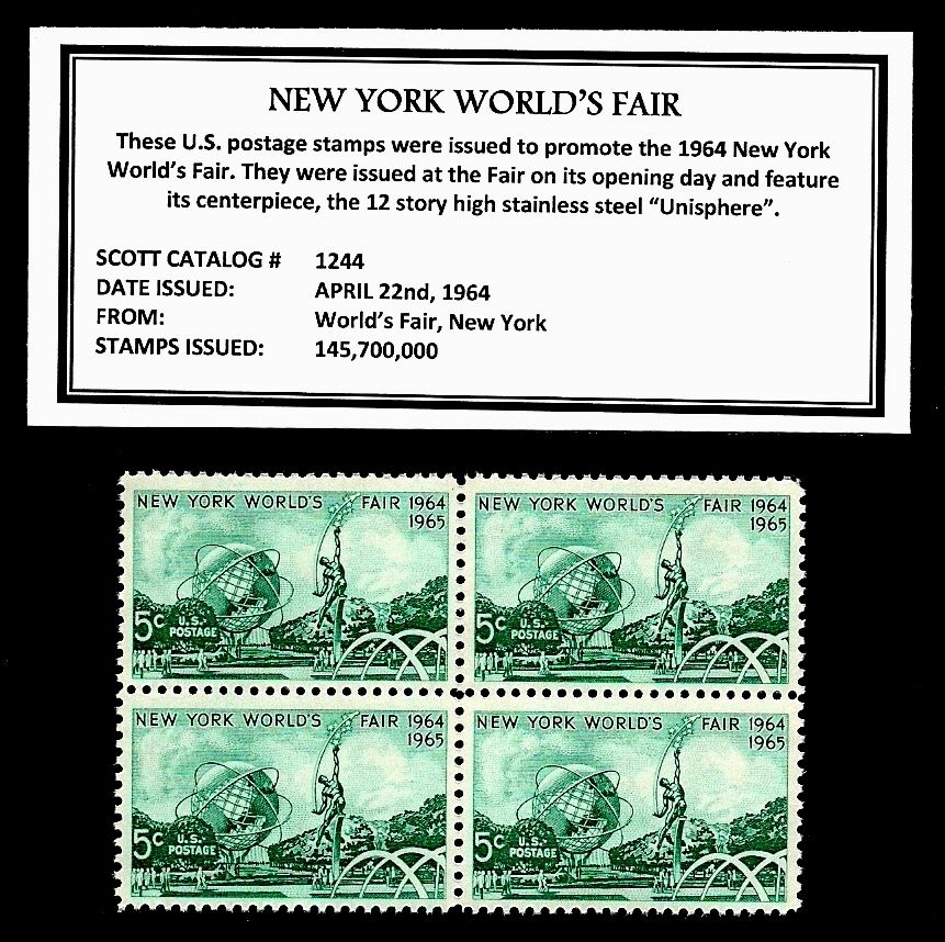 1964 new york world 39 s fair mint nh block of four vintage for New york state architect stamp