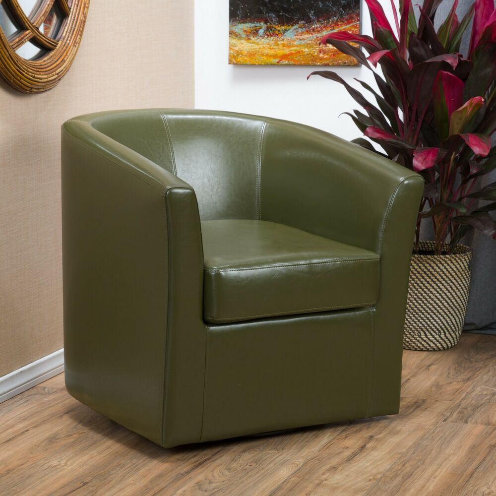 Contemporary Tea Green Leather Swivel Club Chair Ebay
