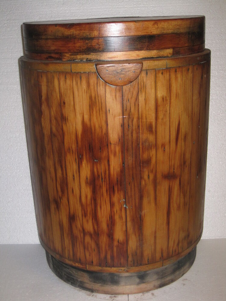All wood whiskey barrel wine barrel half end table shelf for Home decorations on ebay