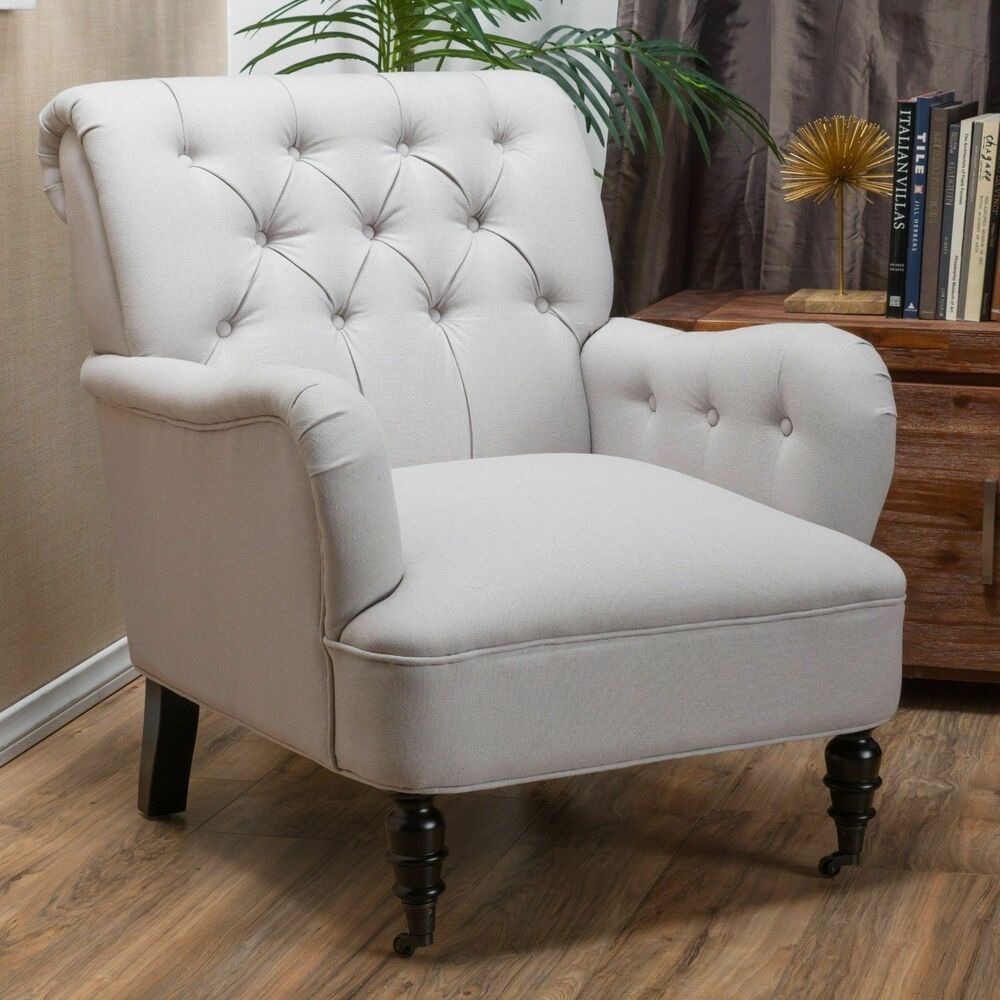 fabric club chair traditional natural beige tufted fabric club chair ebay 15176 | s l1000