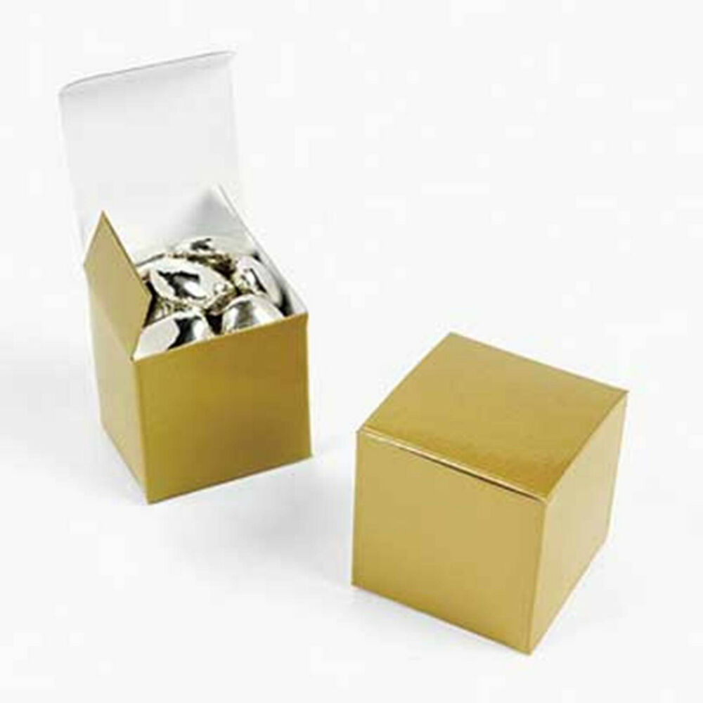 Wedding Gift Boxes Ebay : 48 GOLD Square 2x2x2 Gift Boxes Wedding Party Favors eBay