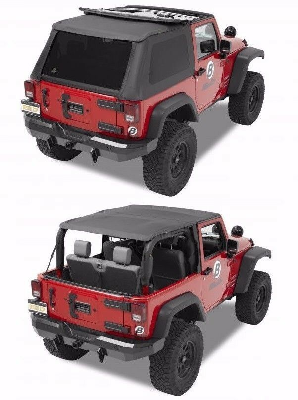 bestop black trektop nx combo sunrider soft top 07 17 jeep wrangler jk 2 door ebay. Black Bedroom Furniture Sets. Home Design Ideas