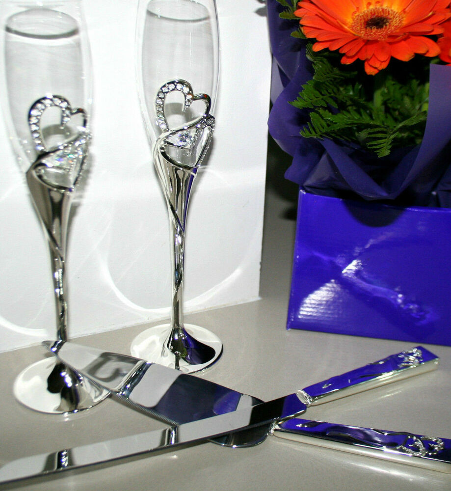 wedding cake champagne glasses weddind toasting glasses flutes cake knife server set 22179