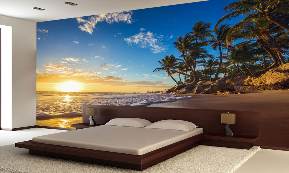 island beach sunset wall mural photo wallpaper giant decor paper poster ebay. Black Bedroom Furniture Sets. Home Design Ideas