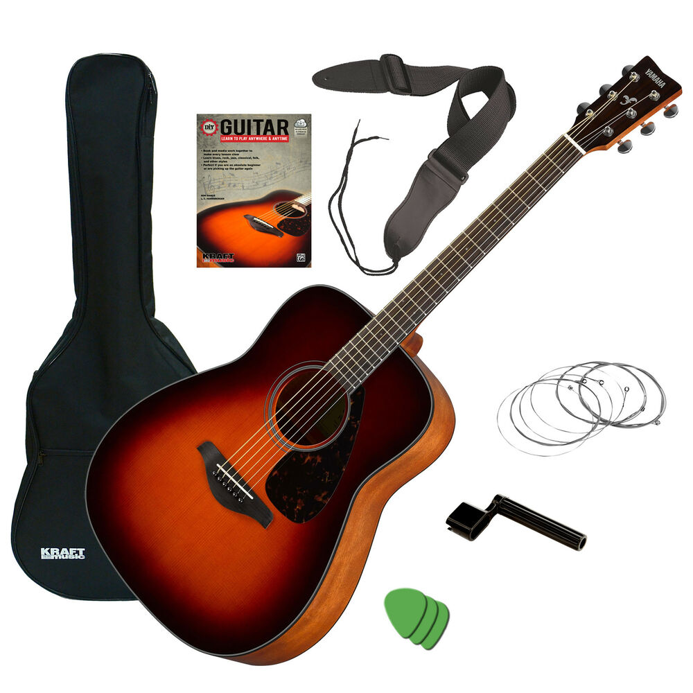 yamaha fg800 acoustic guitar brown sunburst guitar essentials bundle ebay. Black Bedroom Furniture Sets. Home Design Ideas