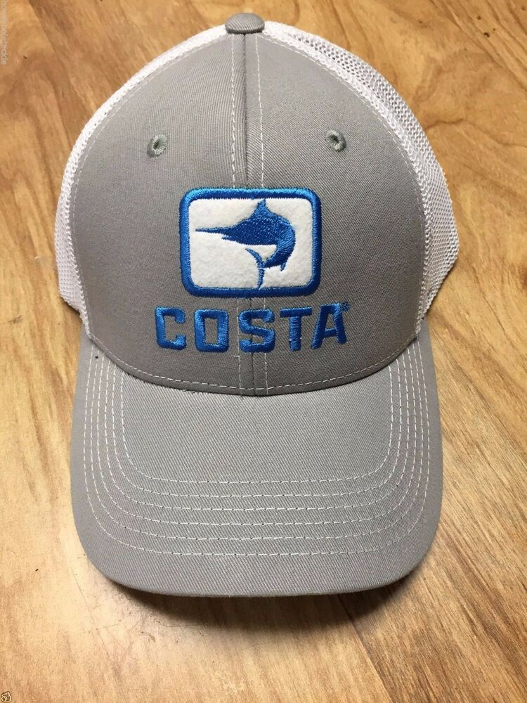 BRAND NEW COSTA DEL MAR MARLIN FITTED STRETCH CAP HAT GRAY AND WHITE - HOT  HOT  edc59812342