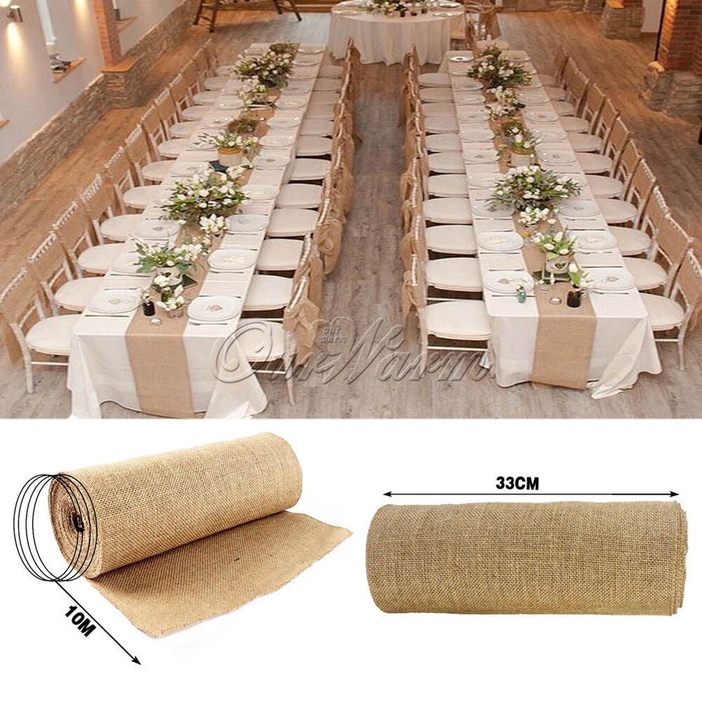 10m burlap hessian wedding table runner natural jute for Country decor