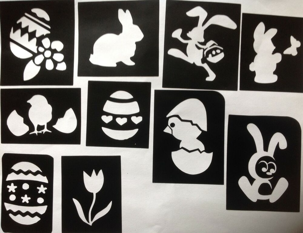 10 x easter stencils 1 top up your glitter tattoo kit face for Rabbit tattoo kit