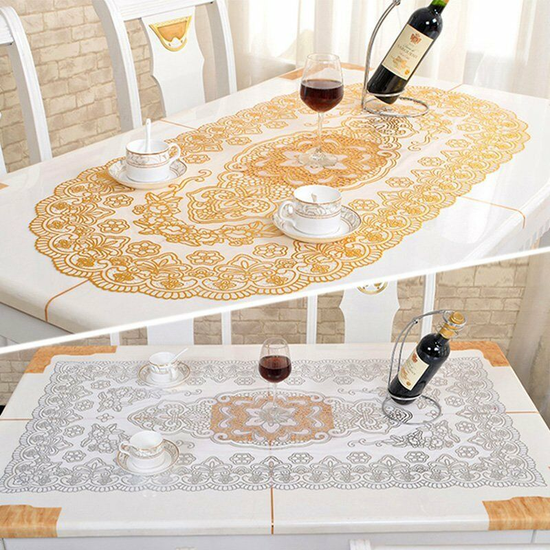 Plastic hollow tablecloth gilding pvc heat resistant table cover home decor hot ebay - Heat resistant table cloth ...
