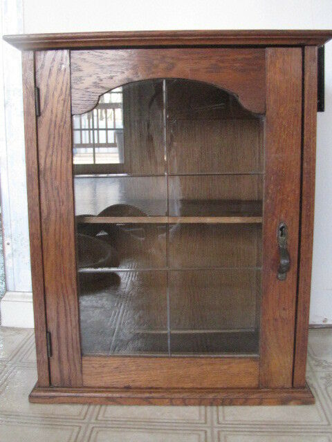 antique wooden oak amp beveled glass miniature medicine 87985