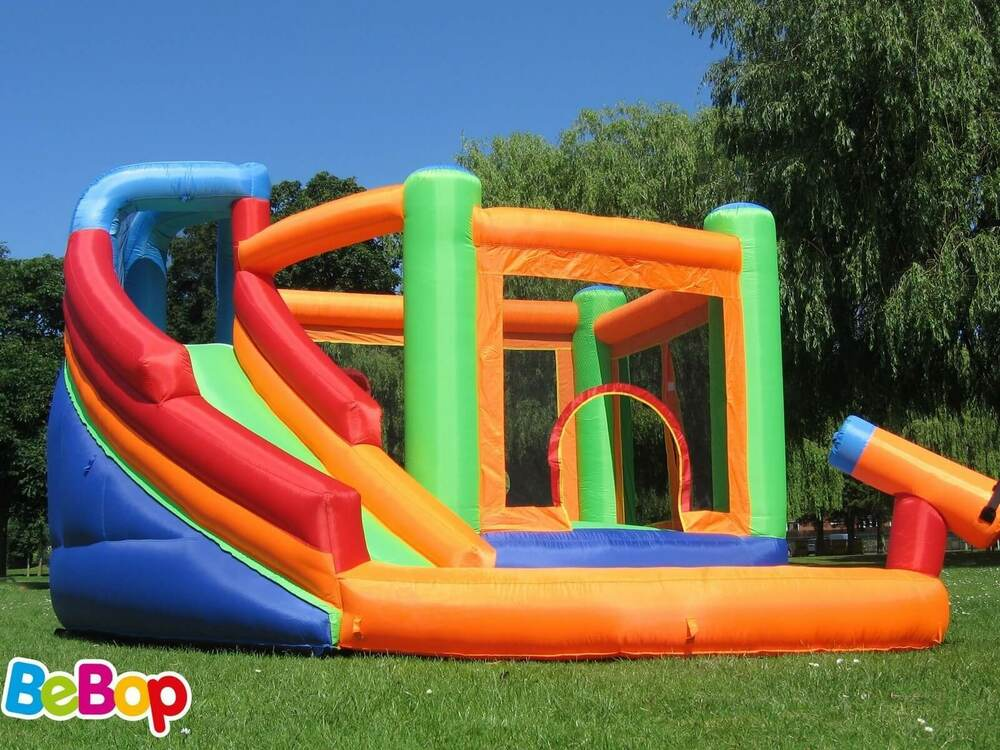 bebop spin combo big inflatable bouncy castle and garden water slide for kids ebay. Black Bedroom Furniture Sets. Home Design Ideas
