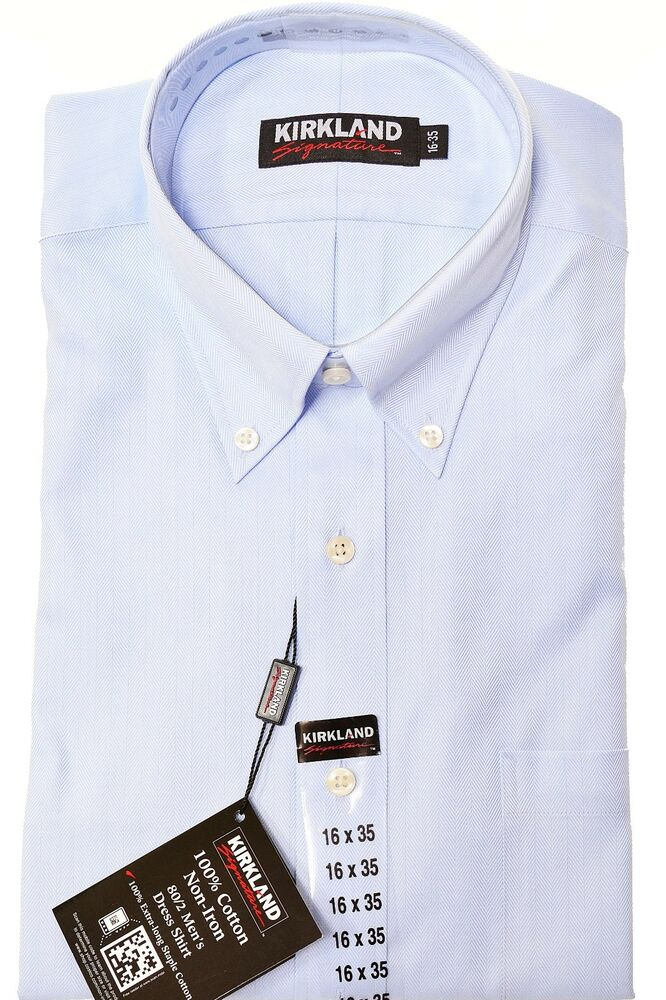 Kirkland mens non iron dress shirt button collar long for Mens no iron dress shirts