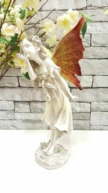 Large 36cm fairy angel outdoor garden figurine ornament stone effect statue ebay - Large garden fairy statues ...