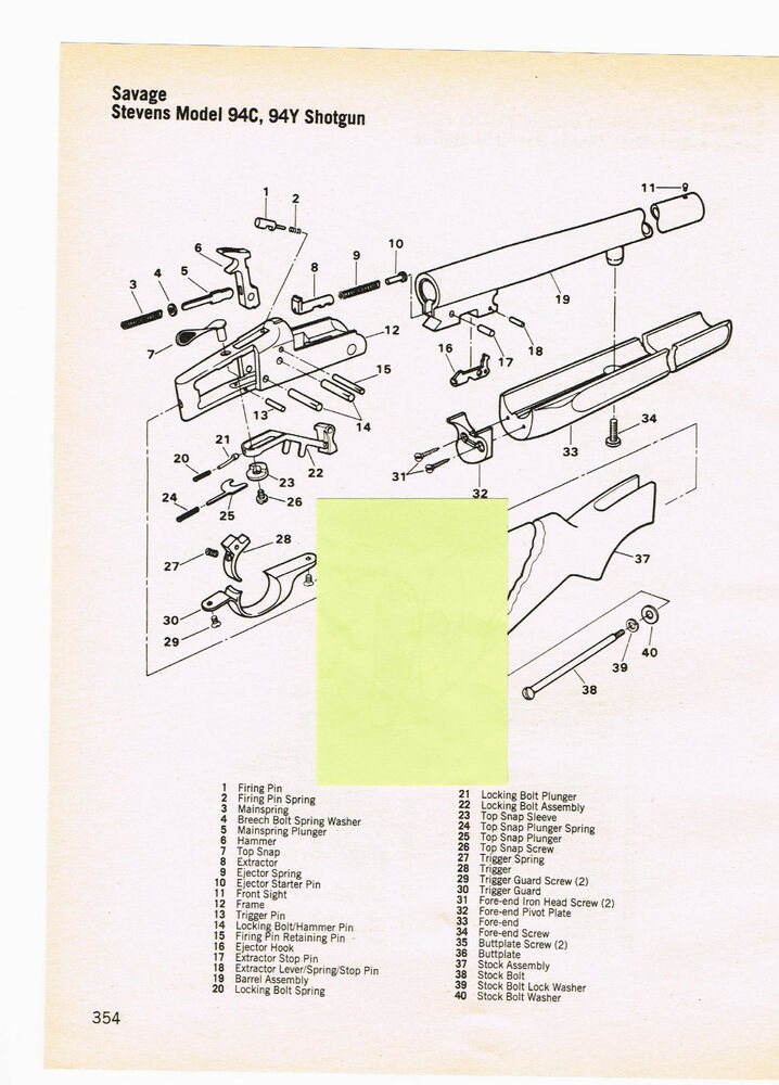 Savage Stevens Model 94c  94y Shotgun Exploded View  Parts List 1982 Ad