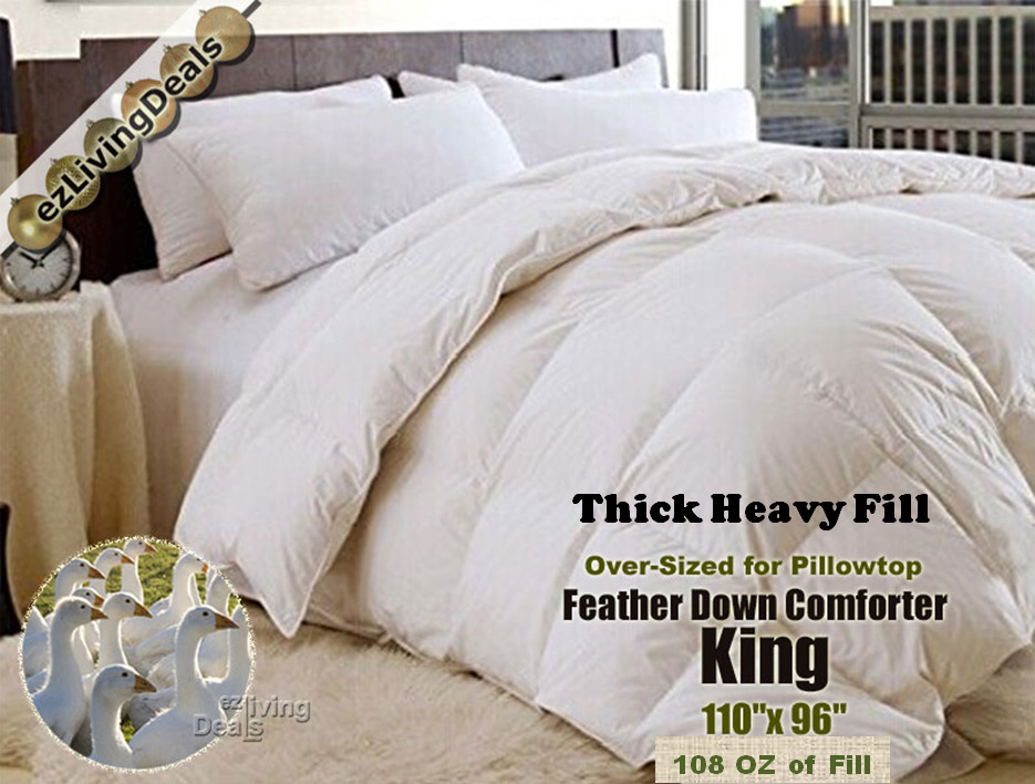 100 goose feather down comforter 95 5 heavy over size bed comforters king 108oz ebay. Black Bedroom Furniture Sets. Home Design Ideas