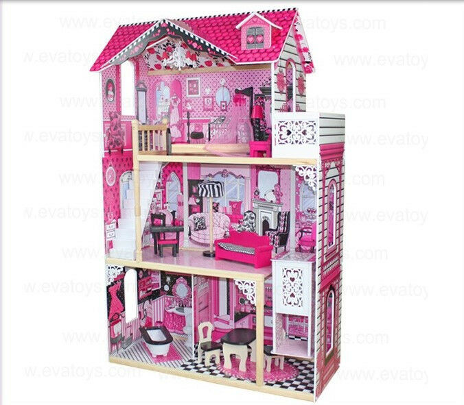 Wooden Dollhouse Toys Pretend Play Preschool Imaginative Pink Furnished Lift Ebay
