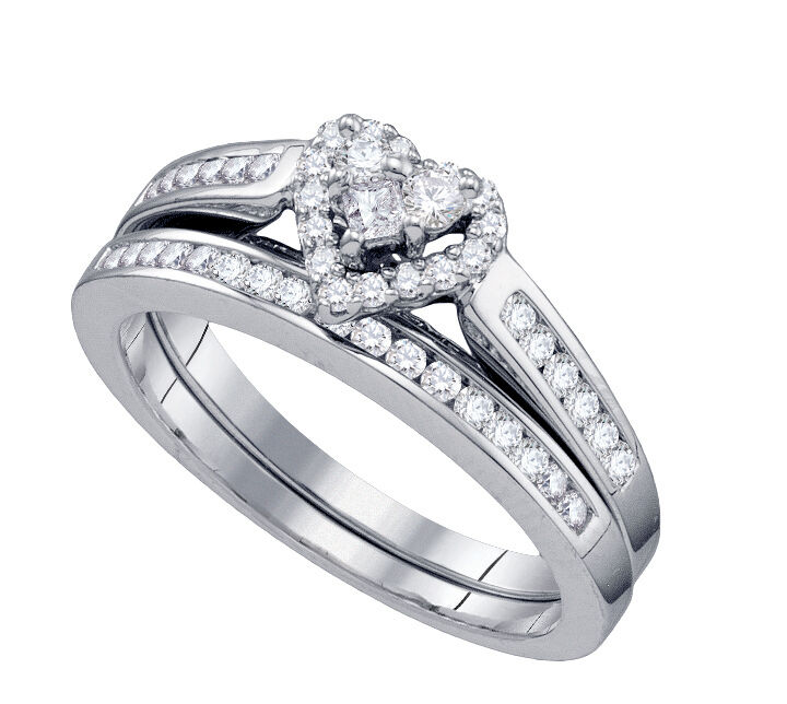 heart shape 1 2ct diamonds ring set bridal engagement