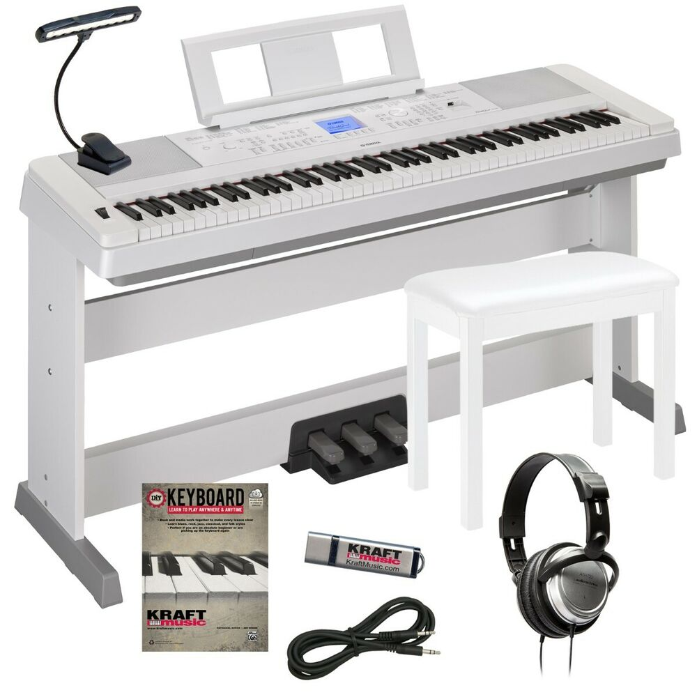 yamaha dgx 660 portable grand digital piano white complete home bundle ebay. Black Bedroom Furniture Sets. Home Design Ideas