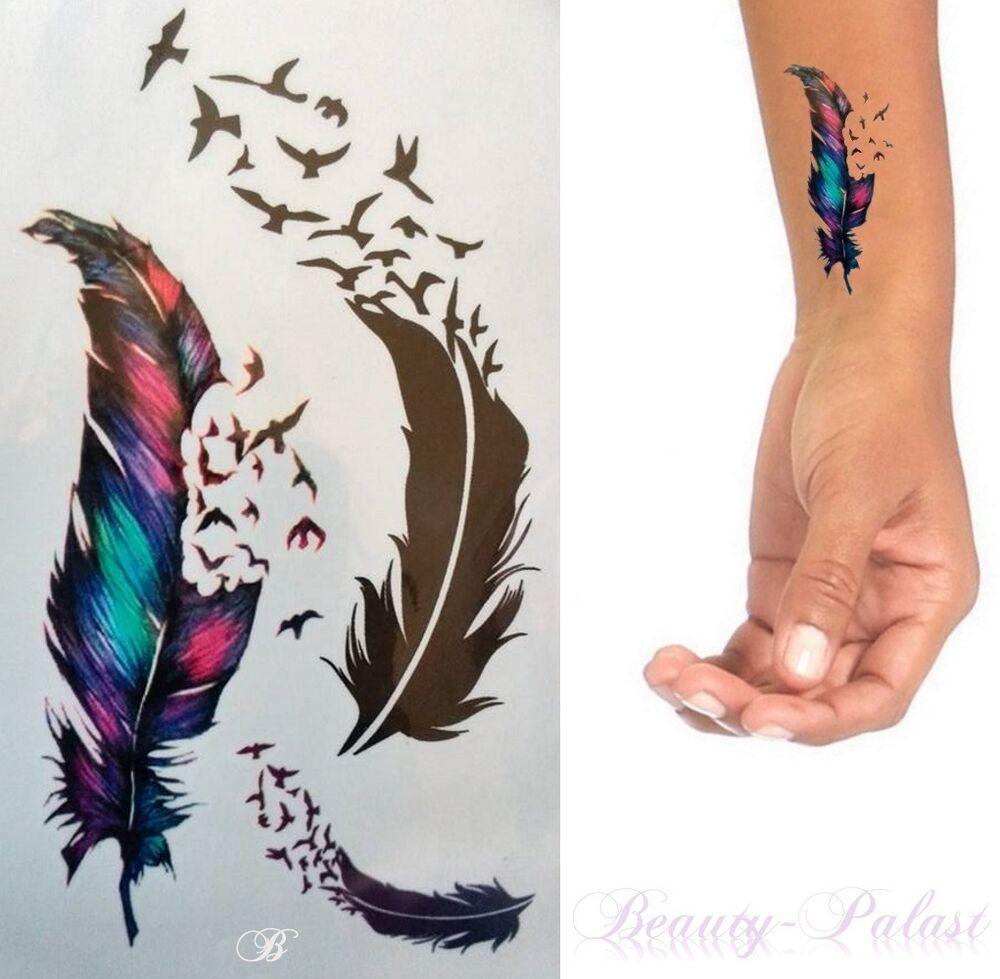 einmal tattoo feder vogel bunt temporary body tattoo flash tattoo rc239 ebay. Black Bedroom Furniture Sets. Home Design Ideas