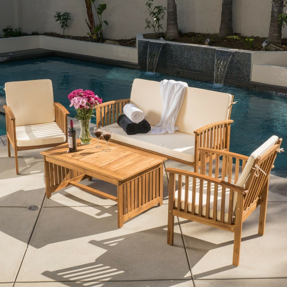 Outdoor Patio Furniture For Small Deck: Casual Outdoor Patio Furniture Wood Stained Finish 4-pc