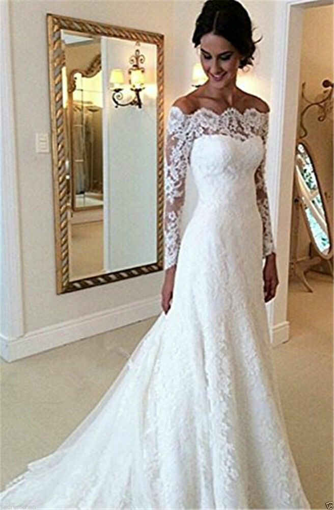 New Elegant Lace Wedding Dresses White Ivory Off The