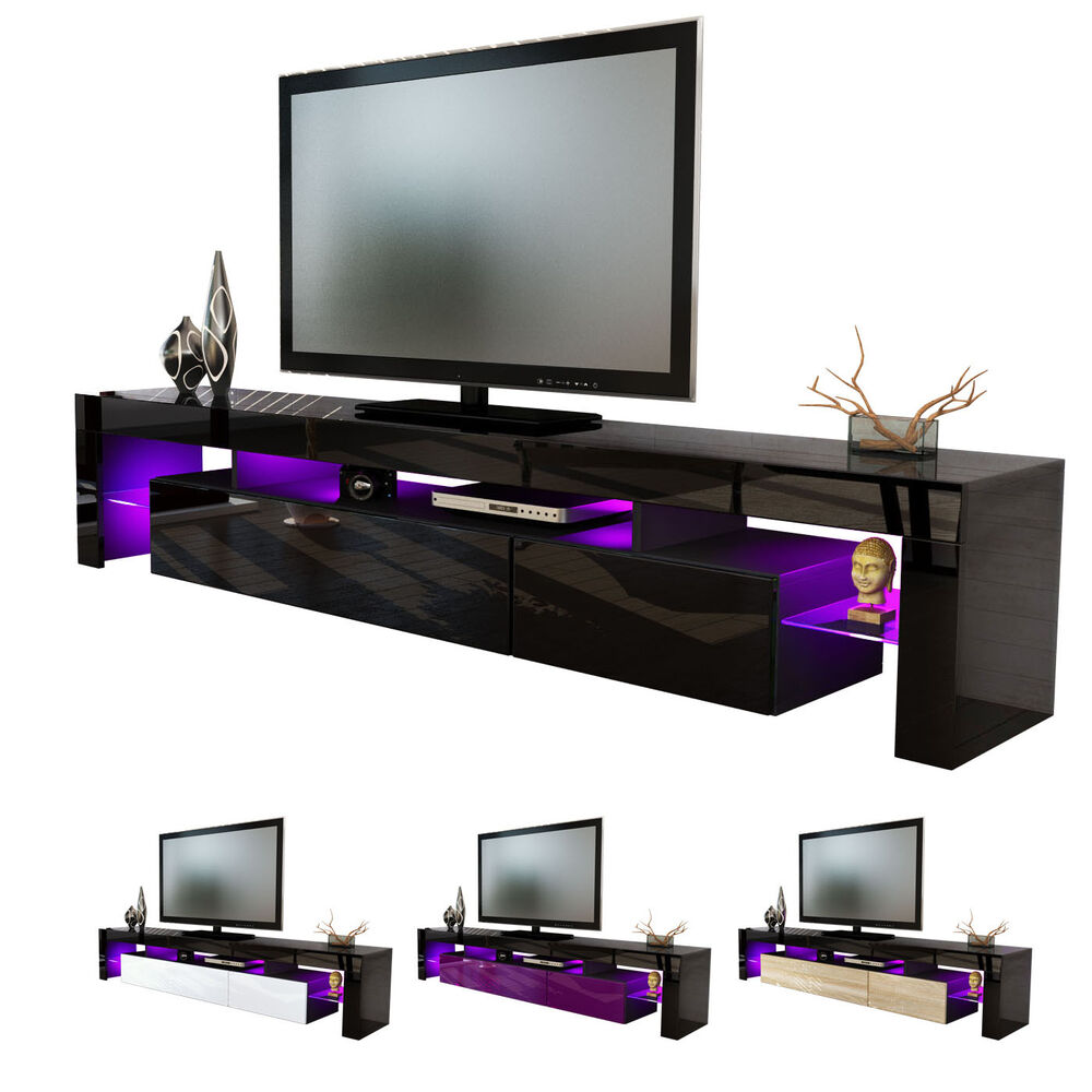 black high gloss modern tv stand unit media entertainment center lima v2 ebay. Black Bedroom Furniture Sets. Home Design Ideas