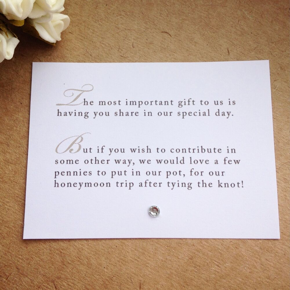 65 Wedding Poem Cards For InvitationsMoney Cash Gift Honeymoon ...