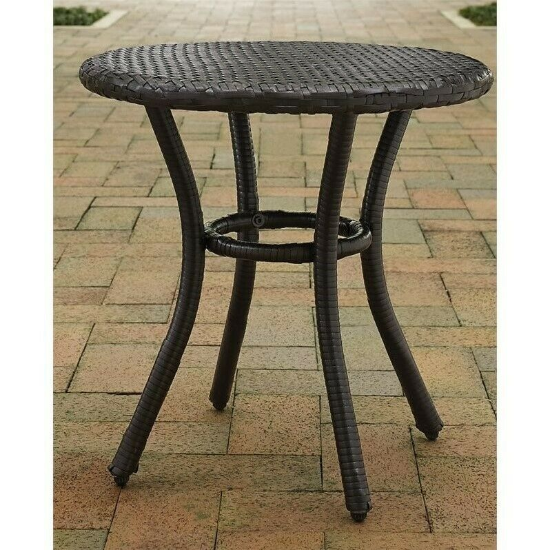 crosley palm harbor outdoor wicker round end table in brown 710244205511