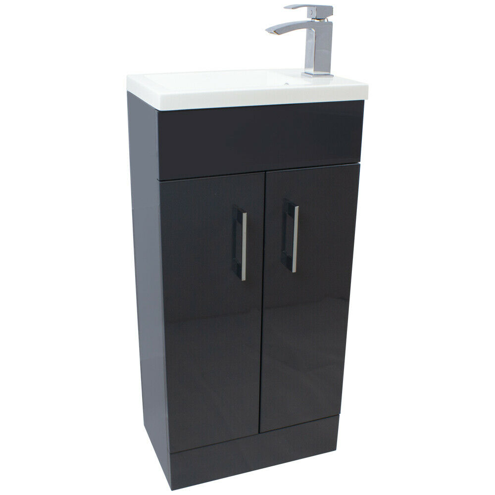 Anthracite Grey 400mm Bathroom Wash Basin Sink Vanity Unit