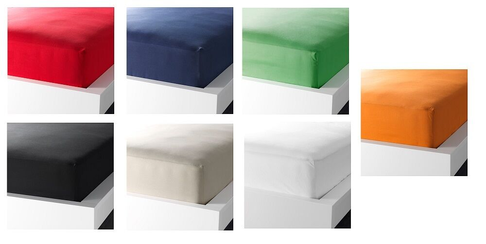 ikea dvala european fitted sheet 100 cotton colours all sizes bedding bed sheet ebay. Black Bedroom Furniture Sets. Home Design Ideas