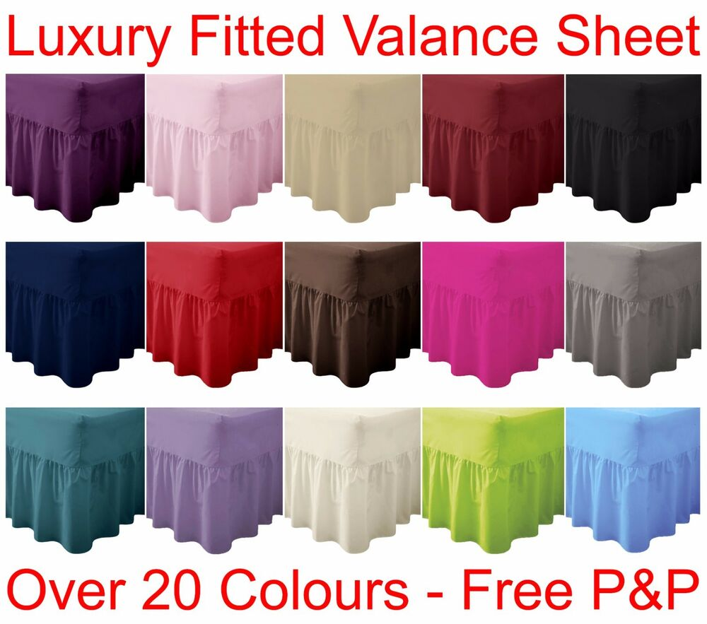 plain dyed fitted valance sheet poly cotton bed sheet single double king sizes ebay. Black Bedroom Furniture Sets. Home Design Ideas