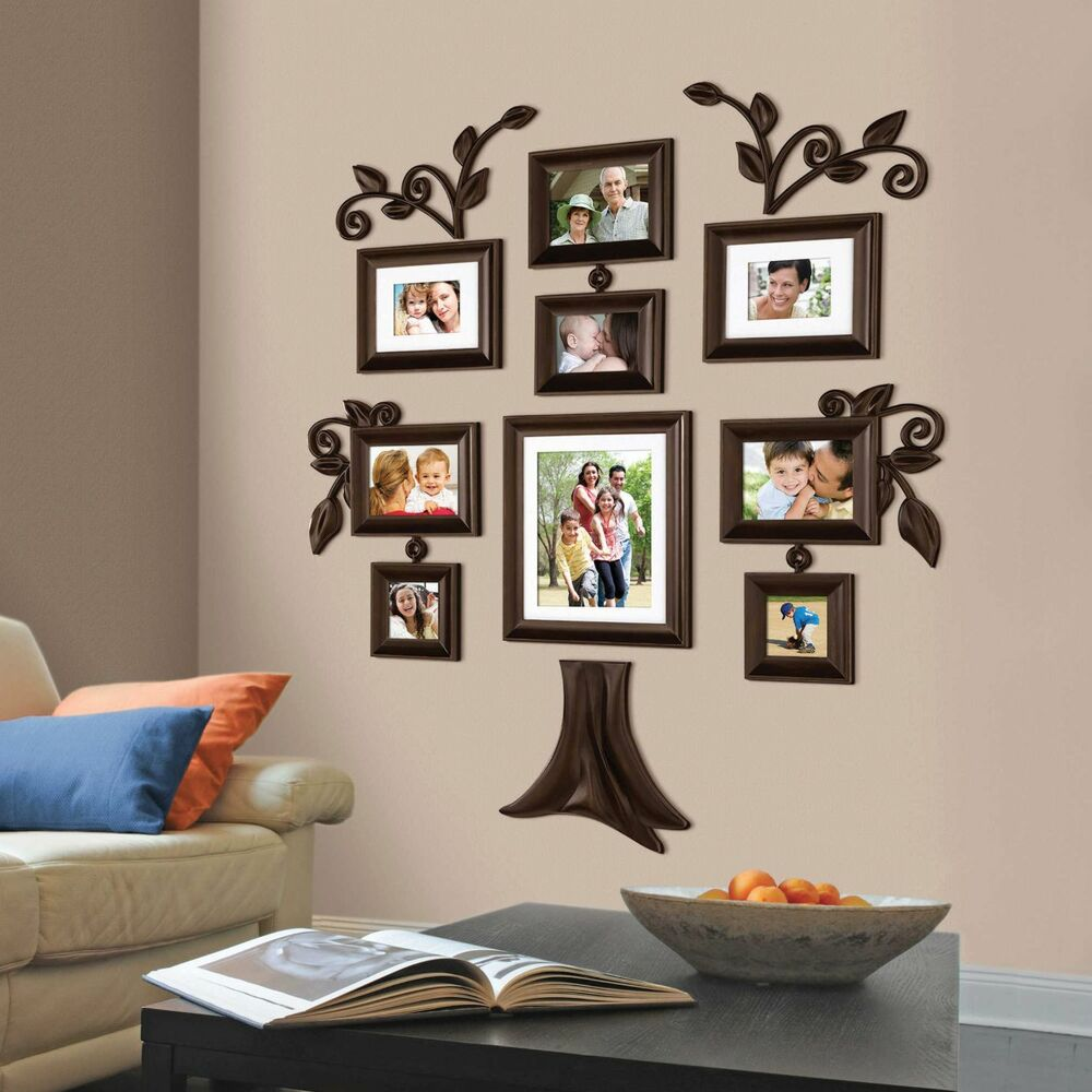 New 9 Piece Family Tree Wall Photo Frame Set Picture Collage Home Decor Art Gift Ebay