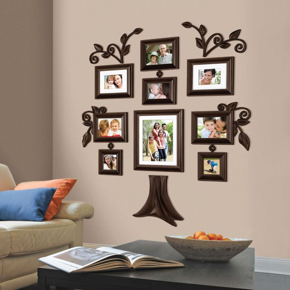 New 9 piece family tree wall photo frame set picture collage home decor art gift ebay Home decoration photo frames