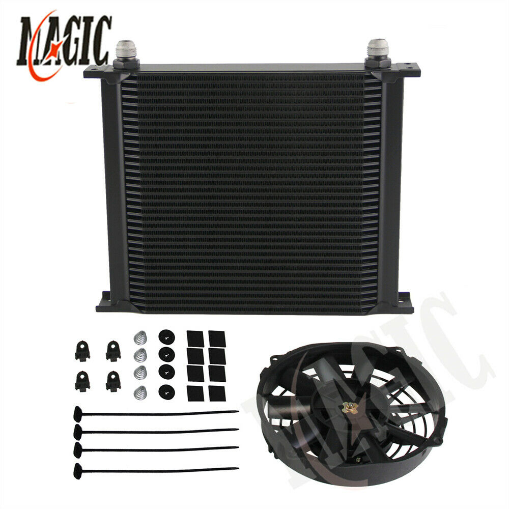 Universal 34 Row 10AN Engine Transmission Oil Cooler + 7