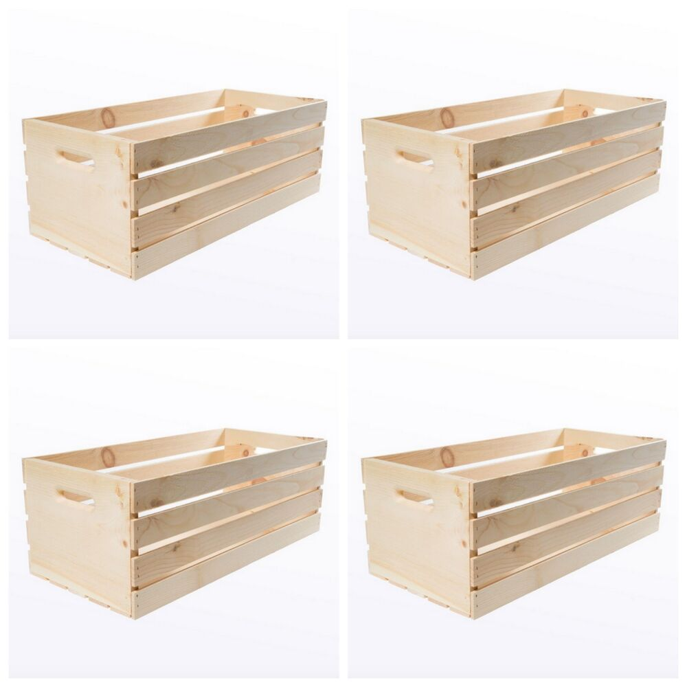 Wooden Decorative Boxes: Large Wood Wooden Crate Box 4 Craft Storage Decorative