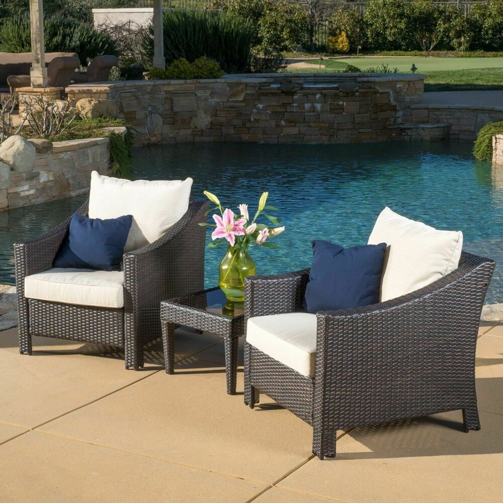 outside patio furniture outdoor 3 brown wicker bistro set with cushions ebay 31083