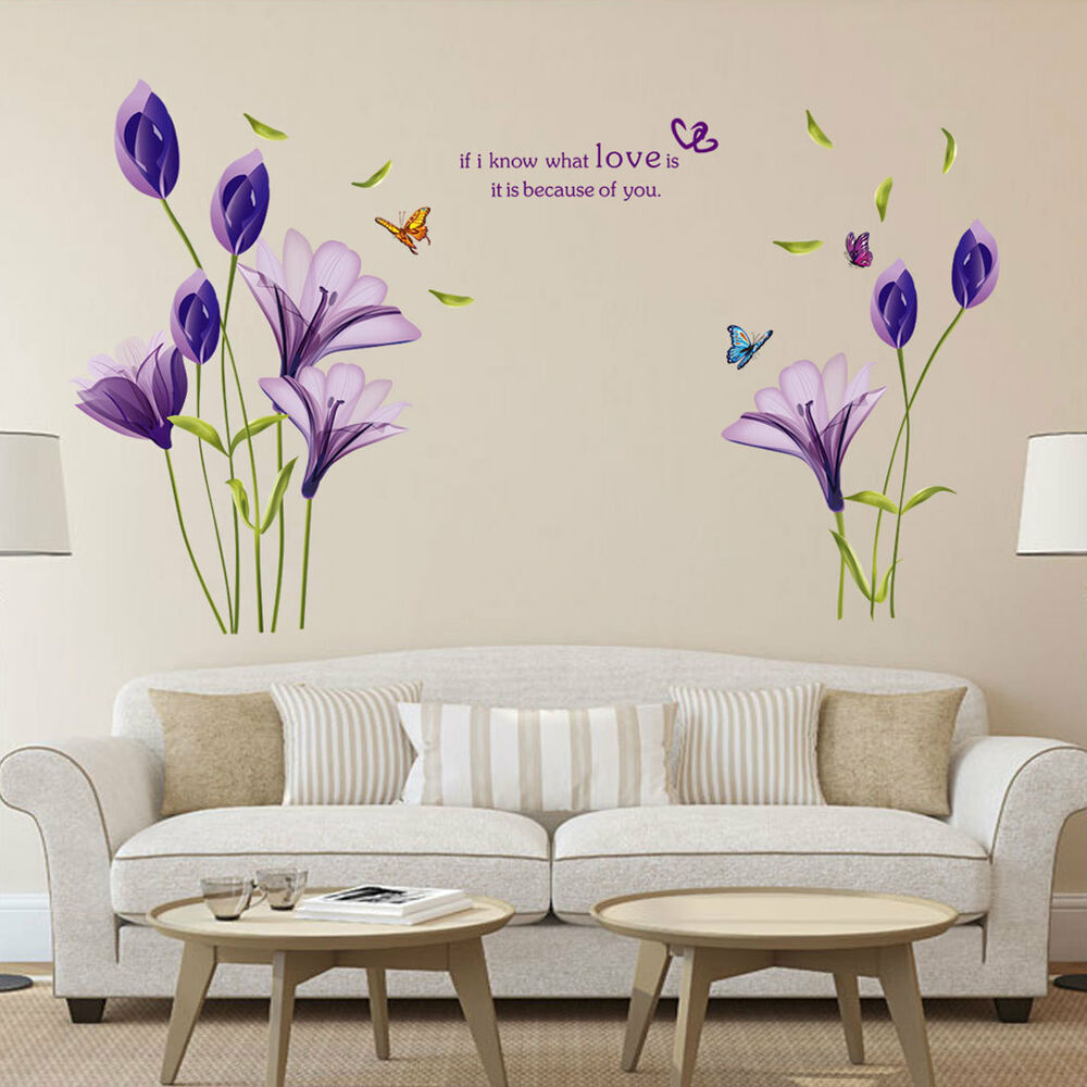 Removable Large Wall Stickers Purple Lily Flower Wall Quote Sticker Room Decor Ebay