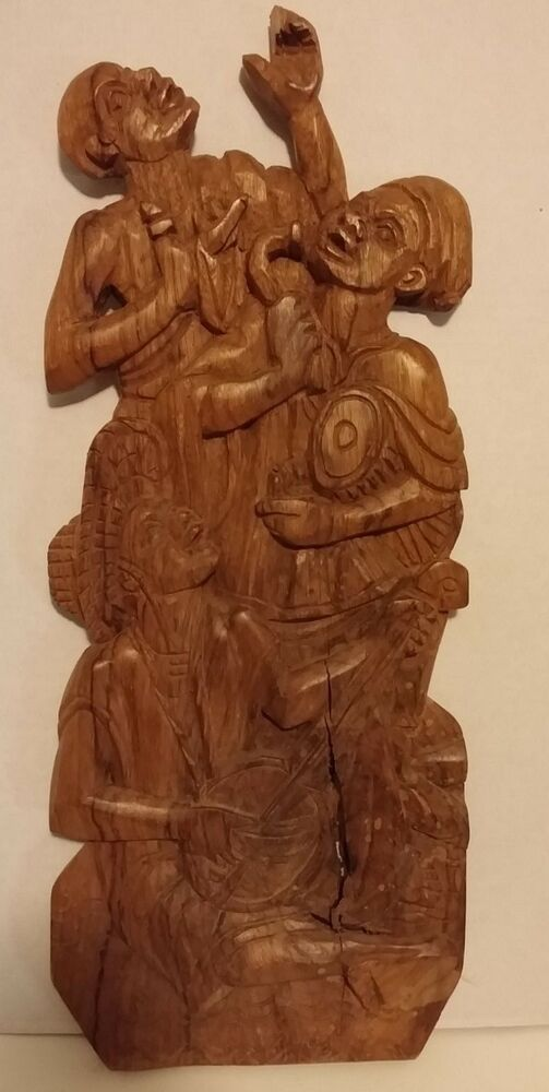 African wood plaque high relief hand carved collectible