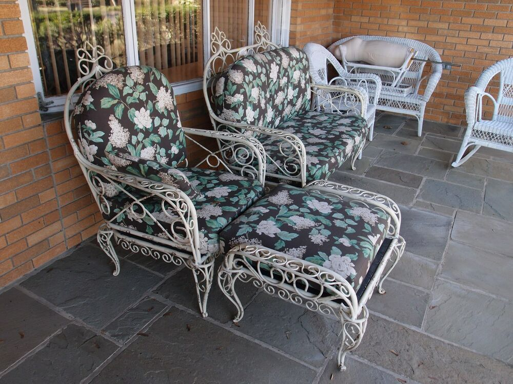 Antique victorian outdoor furniture set ebay for Lawn patio furniture